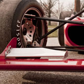 Close shot of the composite front wing with spill plates of the F1000 race car from Philly Motor Sports - Formula B