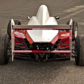 Rear view of the three element fully adjustable rear wing of the F1000 race car from Philly Motor Sports with optimized lower element for aerodynamic efficiency
