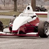 left exterior and front wheel of the F1000 race car from Philly Motor Sports